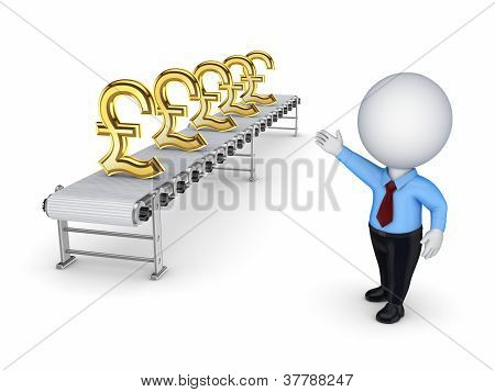 3d small person points to the conveyor with the symbols of the p