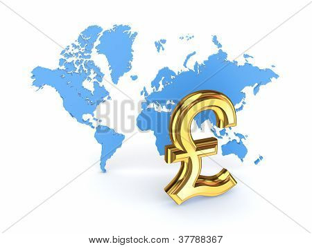 Pound sterling sign and blue map.