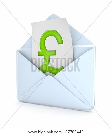 Envelope with pound sterling symbol.