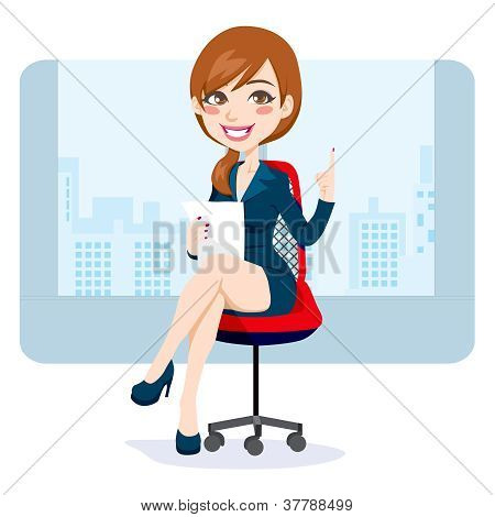 Office Brunette Woman