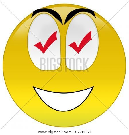 Happy Smiley With Checkmark Signs At Eyes