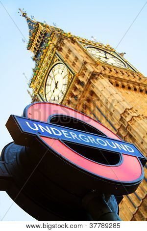 London - MAY 27: Big Ben with London Underground sing on May 27, 2011 in London. Big Ben is one of t