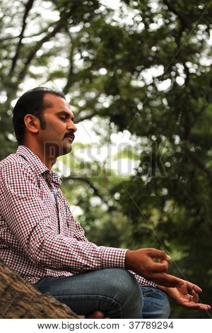 Close-up Profile Photo Of A Handsome Indian Businessman Meditating Under A Tree In A Garden. The Per
