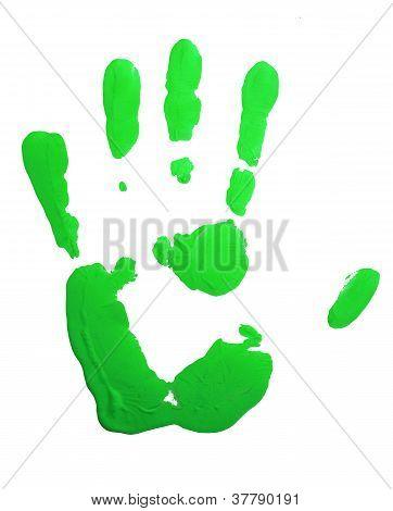 Green hand-print