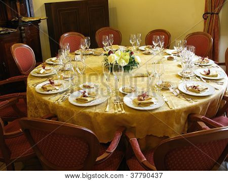 Banquet restaurant table.