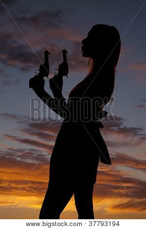 Woman Dress Guns Silhouette Blow