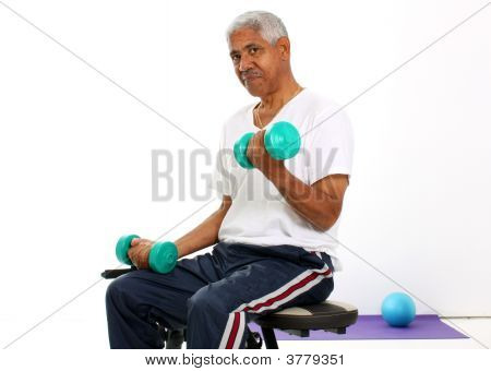 Senior Man Lifting Weights