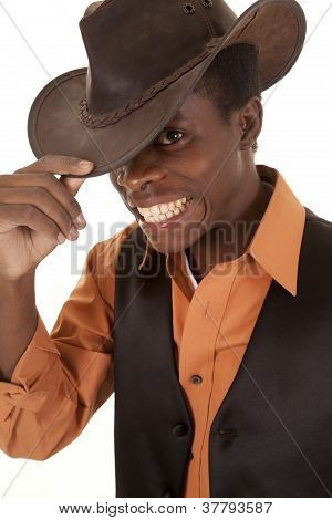 African Cowboy Excited Orange Shirt