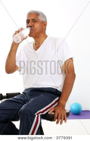 Senior Man Drinking Water