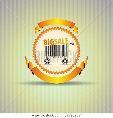 Abstract vector shopping cart made from bar-code - ribbon circle