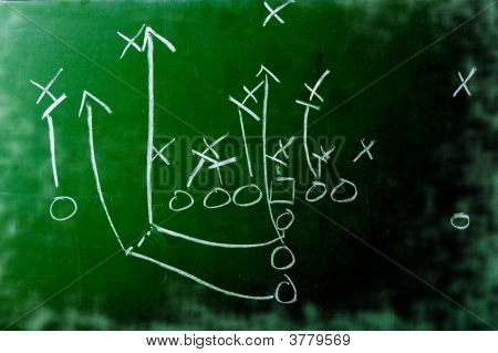 Football Play Diagram On Chalkboard