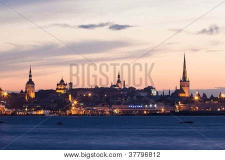 Night Shot Of The Capital Tallinn, Estonia