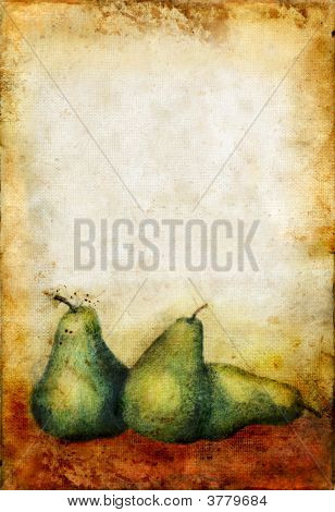 Etches Pears On A Grunge Background