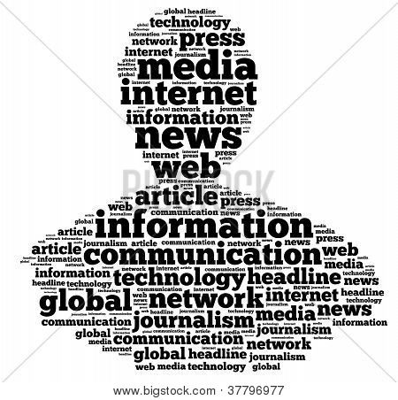 News info-text graphics and arrangement concept on white background (word cloud)