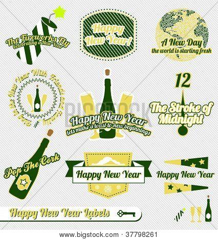 Vector Set: Vintage Happy New Year Labels