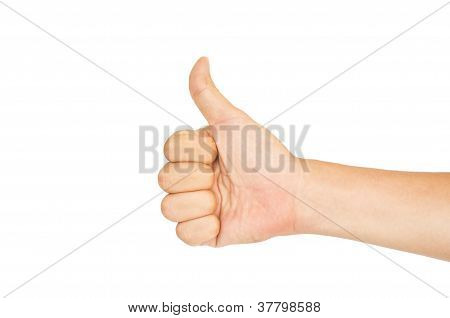 Isolated Thumbs Up For Praise Or Like