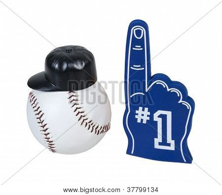 Baseball With Hat And Number One Glove
