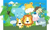 foto of cute tiger  - vector illustration of cute jungle baby animals and jungle plants - JPG