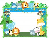 stock photo of jungle  - cute jungle baby animals jungle plants and bamboo frame - JPG