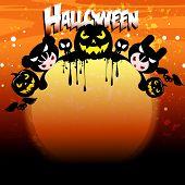 Постер, плакат: Хэллоуин карта с тыквы и ведьмы