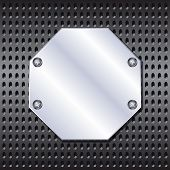 stock photo of octagon shape  - Metal octagon shield screwed to the grid - JPG