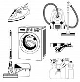 stock photo of cleaning agents  - Set of outlined house cleaning and hygiene tools - JPG