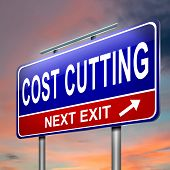 image of economizer  - Illustration depicting an illuminated roadsign with a cost cutting concept - JPG