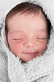 foto of have sweet dreams  - Newborn Baby Having Sweet Dreams and Smiling - JPG