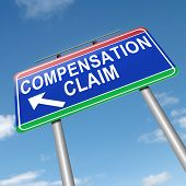 image of workplace accident  - Illustration depicting a roadsign with a compensation claim concept - JPG