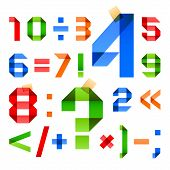 stock photo of arabic numerals  - Font folded from colored paper  - JPG
