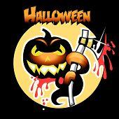 Постер, плакат: Хэллоуин карты с тыквой и Ax