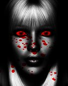 foto of serial killer  - Close up of a sinister female serial killer covered in blood - JPG
