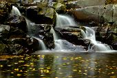 stock photo of greenery  - Little waterfall with colorful leaves - JPG
