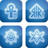 stock photo of ankh  - Religion is the adherence to codified beliefs and rituals pictured here from left to right - JPG