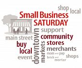 stock photo of awning  - Small Business Saturday word cloud with store graphic - JPG