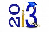 foto of tassels  - Gold tassel and blue graduation cap for class of 2013 - JPG