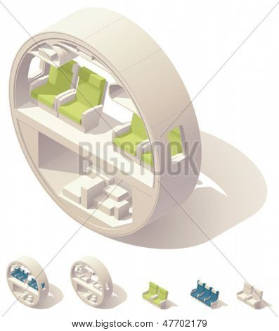 Isometric aircraft cabin cross-section