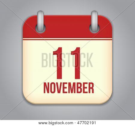 Vector November 11 calendar app icon
