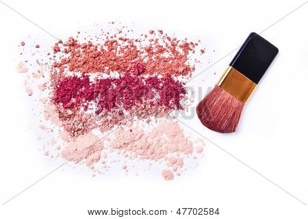 makeup powder with brush white background