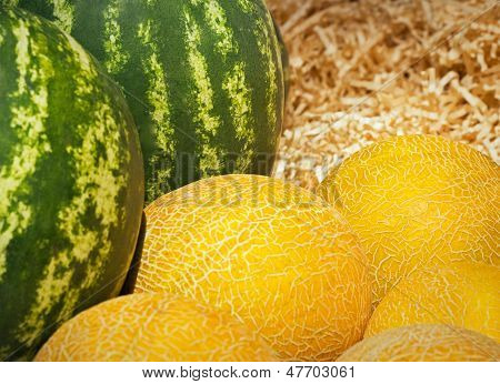 Melons And Watermelons Heap In Wood Sawdust, Market Background