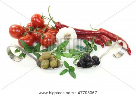 Fresh Olives With Olive Twig