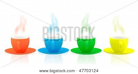 Various Color Ceramic Dishes And Cups