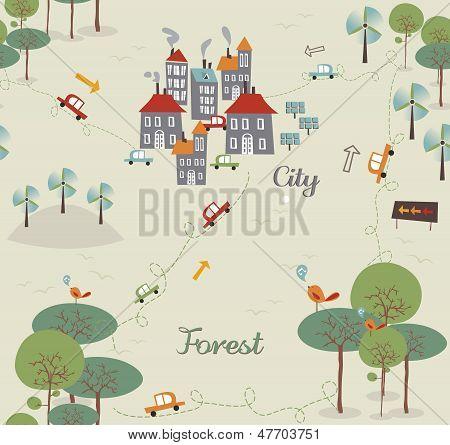 Vintage ir ciudad verde diseño