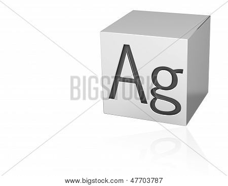 Silver Cube With Ag Mark