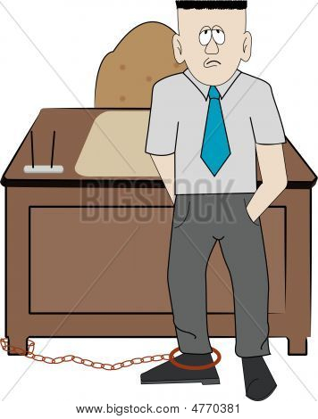 Man Business Chained To Desk.