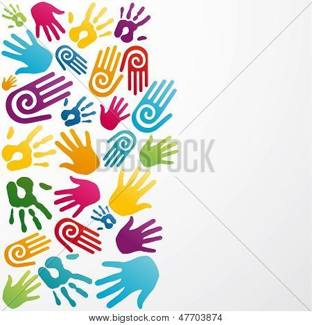 Diversidade cores mão humana