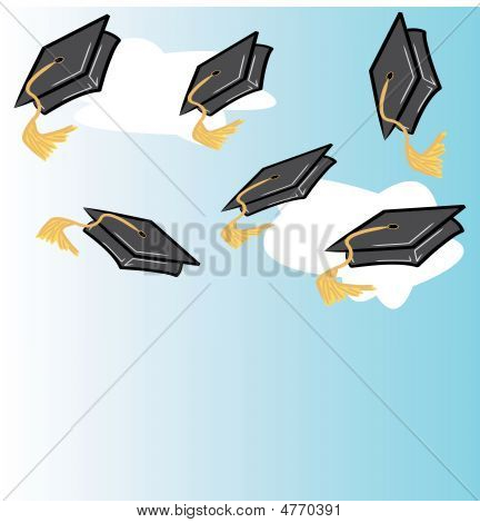 Throwing Graduation Caps With Clouds.