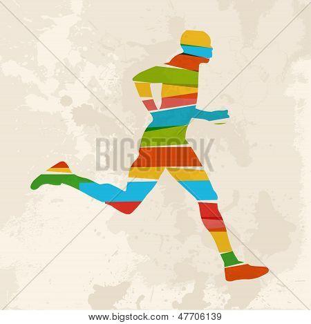 Vintage Multicolor Running Man