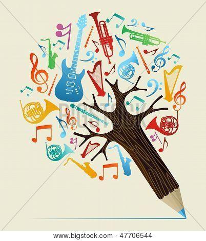 Musical Studies Concept Pencil Tree