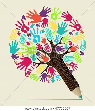 Diversidade mão conceito lápis árvore